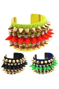 ROMWE | Studded Riveted Diamante Colorful Wide Bracelet, The Latest Street Fashion