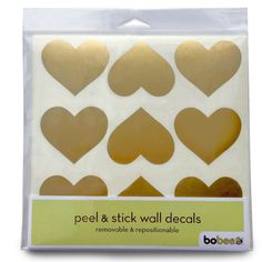 Bobee Gold Heart Dots Vinyl Wall Decals, 36-count