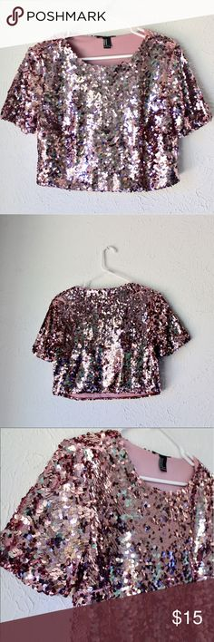 Pink sequin crop top Sequins are not just for New Years!! Forever 21 Tops Crop Tops
