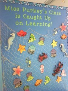 To create a awesome bulletin board for a classroom, all you need is imagination. Here are some creative bulletin board ideas for your inspiration. Make a cool bulletin board with love and have fun with your kids. Sea Bulletin Board, Creative Bulletin Boards, Preschool Bulletin Boards, Preschool Classroom, Classroom Themes, In Kindergarten, Ocean Themed Classroom, Rainbow Fish Bulletin Board, Nautical Bulletin Boards
