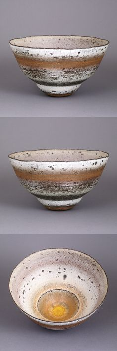 RAY SILVERMAN (British, b.1943) Bowl Stoneware, textured body with layered white over dark grey glazes with an ochre band below the rim, impressed RS seal H 13.8cm, D 24.8cm