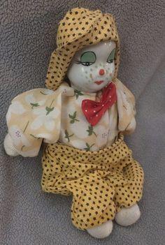 ~~ Vintage Clown Porcelain Painted Face Sitting Clown Doll Figurine  | Collectibles, Decorative Collectibles, Figurines | eBay! Face Sitting, Vintage Clown, Porcelain, Dolls, Christmas Ornaments, Clowns, Holiday Decor, Ebay, Baby Dolls