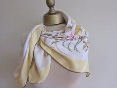Large silk scarf   yellow floral designer   by foulardfantastique, $28.00
