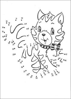 Dot to dot: Cat printable connect the dots game