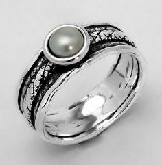 Shablool Didae Israel Freshwater White Akoya Pearl Ring 925 Silver