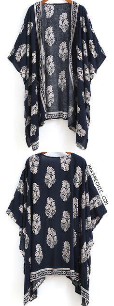 Navy Vintage Floral Loose Kimono