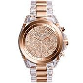 Michael Kors Women's Chronograph Bradshaw Clear and Rose Gold-Tone Stainless Steel Bracelet Watch 43mm MK5905