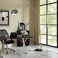 Modway Sunflower Round Floor Lamp in Black Arco Floor Lamp, Black Floor Lamp, Modern Floor Lamps, Modern Light Fixtures, Modern Lighting, Sun Lamp, Star Wars, Mid Century Furniture, Furniture Collection