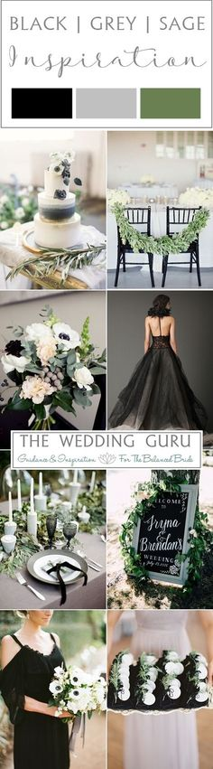 Black, grey and sage green wedding inspiration from http://www.theweddingguru.ca/wedding-inspiration-black-grey-sage/ #weddinginspiration Bouquet, wedding cake, grey wedding dress, table settings and decor.