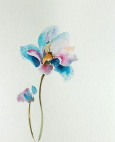 Flower Watercolor Painting Original Watercolor by CanotStop, $70.00