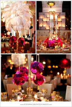 Feather wedding decor, Love the feather center pieces!
