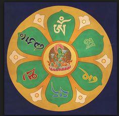Mandala of Om Mani Padme Hum, Thangka Tibetan Thangka Painting Gautama Buddha, Buddha Buddhism, Tibetan Buddhism, Buddhist Symbols, Buddhist Art, Buddhist Tattoos, Tibetan Symbols, Sacred Symbols, Sacred Art
