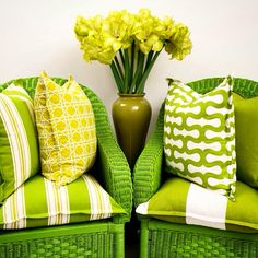 My photo shoot is now complete, a Tonal Green cushion story, with a combination of Geometric Designs and different size stripes, on painted Wicker Chairs...