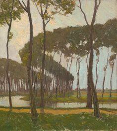 blastedheath: Charles Warren Eaton (American, 1857-1937), Poplars, Bruges (Belgium), c.1900-10. Oil on canvas, 18 1/4 x 16 in.