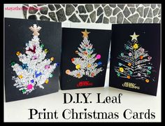 D.I.Y Leaf Print Christmas Cards...or use any leaf. Just love the idea.