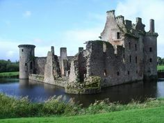 The photo shows part of the inner moat, which completely surrounds the castle with water, and the southeast corner which once had a tower to match that at the southwest corner, seen on the left. For more information, see Castle Ruins, Medieval Castle, Palaces, Beautiful Castles, Beautiful Places, Scottish Castles, England And Scotland, Interesting History, British Isles