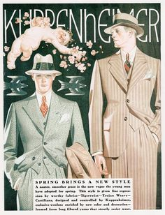 spring menswear 1929 vintage fashion  1929 advert from American men's fashion house Kuppenheimer