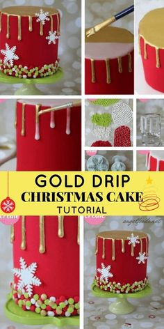 In this gold drip Christmas cake tutorial, you'll learn how to create a beautiful Christmas themed cake with a striking gold drip, snowflakes and. Christmas Themed Cake, Christmas Cake Designs, Christmas Cake Decorations, Christmas Cupcakes, Holiday Cakes, Christmas Treats, Xmas Cakes, Christmas Desserts, Christmas Christmas