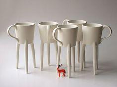 "Your coffee ""on legs"" -- giraffe legs."
