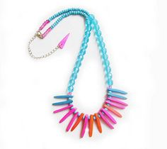 Neon Spikes Necklace - Tropical Punch  - Tribal Inspired Handmade Necklace in pink, coral and blue. $28.50, via Etsy.