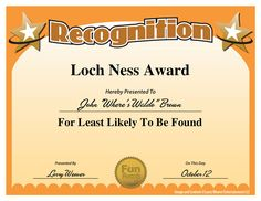 "Loch Ness Award from ""101 Funny Employee Awards"" by comedian Larry Weaver"