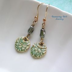 Mehndi Earrings Ceramic Dangle from Yolanda's Clay
