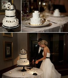 Black white wedding cake with sugar anemones. Also, individual mini wedding cakes for each guest. Tons of delicious cake!!  Planning a Michigan Wedding with Pearls Events: Real Wedding 2010 | Sarah & Trevor