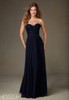 Bridesmaids Dress 128 Beaded Lace with Chiffon