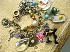 Sewing charms  bracelet vintage and new ooak  tateam. $56.00, via Etsy.