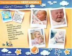La Herpangina se caracteriza por lesiones vesiculosas y ulcerativas en la boca de los niños, afecta el paladar (lengua), la faringe, las amígdalas, etc. La duración de estos síntomas es de 2 a 7 días, aproximadamente.