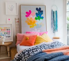 Colorful pillows.