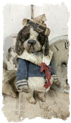 """Изображение Sailor Pup Dog ~ Античный стиль 7 """"- в матросской верхней и бумажном колпаке * медведями Whendi в"""