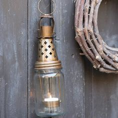 Lygte med hængeindsats - Fyrfadslys - H:27 cm | Ib Laursen - Klik for mere information