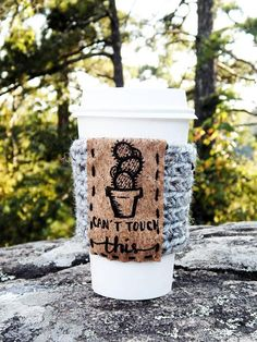 Coffee Lover Stocking Stuffer // Crochet Cup Cozy // Coffee Sleeve // Cactus // Hand Lettered Cup Cozy // Iced Coffee Sleeve // Gift for Her  • Coffee cozy for unique gifting • Handmade in Arkansas • Tweed acrylic yarn for style and ease of care • Other colors available upon request •