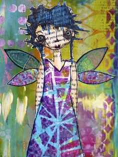 Stunning! Summer Garden Fairy by nikimaki, via Flickr For her wings, dress and boots I made Gelli Plate mono-prints using regular typing paper and deli paper. The deli paper is translucent (like vellum) and it gives the wings a lovely ethereal quality.
