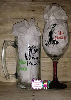 Her Joker & His Harley Quinn Suicide Squad Inspired His and Hers Glass Set by ButterflyFrillsShop on Etsy