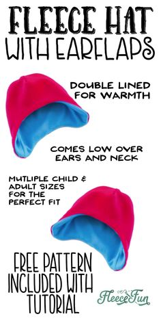 I love this easy basic fleece hat tutorial. I love the free pattern that comes w… I love this easy basic fleece hat tutorial. I love the free pattern that comes with it. Perfect for beginners and there are so many cute modifications for it. Sewing Projects For Beginners, Knitting For Beginners, Sewing Hacks, Sewing Tutorials, Sewing Tips, Sewing Ideas, Sewing Crafts, Diy Crafts, Sewing For Kids