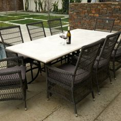 Melton Craft Asia Grey Travertine Table - Outdoor Furniture Gallery   BBQ's & Outdoor