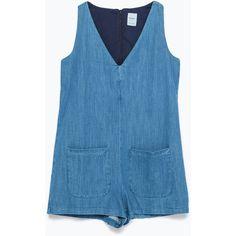 Zara Denim Jumpsuit (1.675 RUB) ❤ liked on Polyvore featuring jumpsuits, jumpsuit, blue, zara jumpsuit, blue jump suit, blue jumpsuit, jumpsuits & rompers and denim jumpsuit