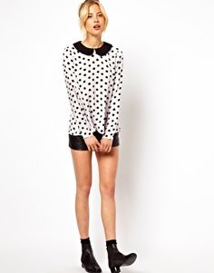 Swing Top With Contrast Collar In Spot Print