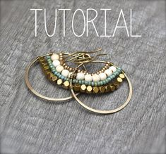 In this tutorial you will learn step by step how to make these fun, bohemian Gypsy Hoops. These can be made in a variety of metals and beads, diy jewelry earrings Gypsy Hoops Tutorial Glass Jewelry, Wire Jewelry, Jewelry Crafts, Beaded Jewelry, Jewelery, Handmade Jewelry, Jewellery Box, Silver Jewelry, Personalised Jewellery