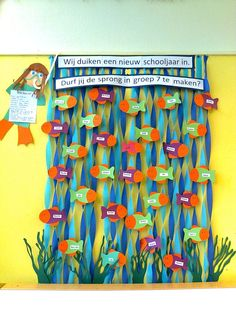 Remember to use the 2 tone streamers for water! Under the Sea Theme Classroom Board, School Bulletin Boards, School Classroom, Classroom Decor, Art School, Class Decoration, School Decorations, Halloween Decorations, First Day Of School
