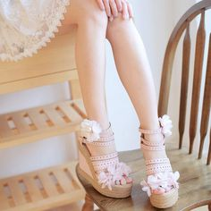 Sweet flowers high-heeled shoes wedges shoes