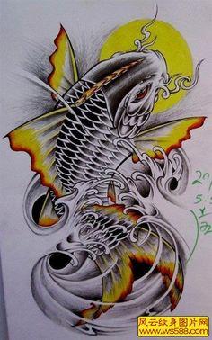Info and ideas for japanese koi dragon tattoo; The grade of work you will get wi. Dragon Koi Tattoo Design, Koi Dragon Tattoo, Japan Tattoo Design, Tattoo Design Drawings, Japanese Koi Fish Tattoo, Koi Fish Drawing, Japanese Dragon Tattoos, Pez Koi Tattoo, Koi Tattoo Sleeve