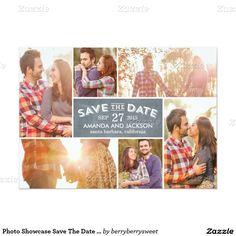 Photo Showcase Save The Date - Chalkboard 5x7 Paper Invitation Card