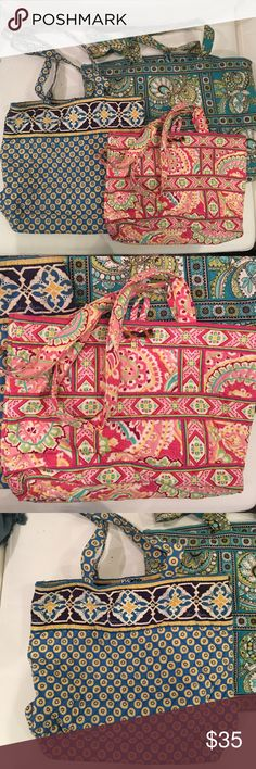 Vera Bradley Bundle of 3🌺 3 Vera Bradley bags--- 1 NWOT small purse, 1 gently used blue tote and 1 gently used tote. Gently used items show minor signs of wear. GREAT DEAL!!!! Vera Bradley Bags Totes