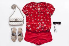 Outfit inspiration: 1 pair of shorts, 3 outfits - blouse with daisy flowers, red shorts, silver sandals with crystals, Marc by Marc Jacobs sunglasses, quilted chain bag - teetharejade.com