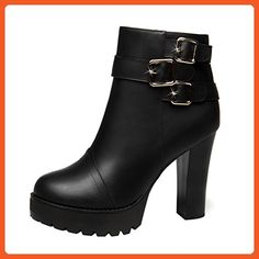T&Grade Women Leather Skidproof Chunky Heel Zipper Platform Ankle Winter Thick Boot Stylish Warm Shoes(7.5 B(M) US, Black) - Boots for women (*Amazon Partner-Link)