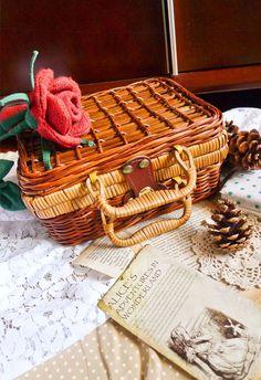 "Woven cane picnic basket like purse (very ""mori girl"")."
