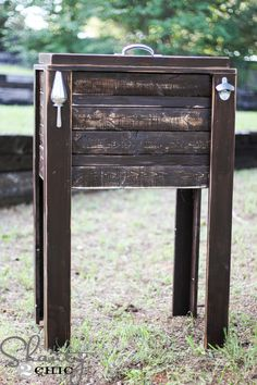 DIY:  How to Make a Cooler Stand -  awesome tutorial on how to build this using stock lumber + lots of pictures & drawings. Great way to hide a not-so-attractive cooler - via Shanty 2 Chic